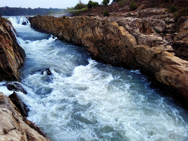 Narmada river waterfall, jabalpur india. Narmada river waterfall nature beauty jabalpur india royalty free stock images
