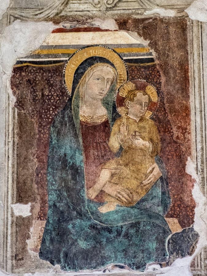 Narni, церковь Santa Maria Impensole, фресок стоковое изображение rf