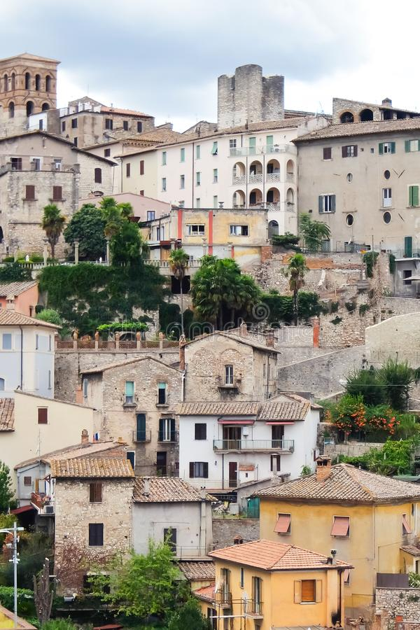 Narni, Italy. Beautiful view of historic center of the  small ancient hilltown Narni. Narni, Italy - Circa September 2017. Beautiful view of historic center of royalty free stock images