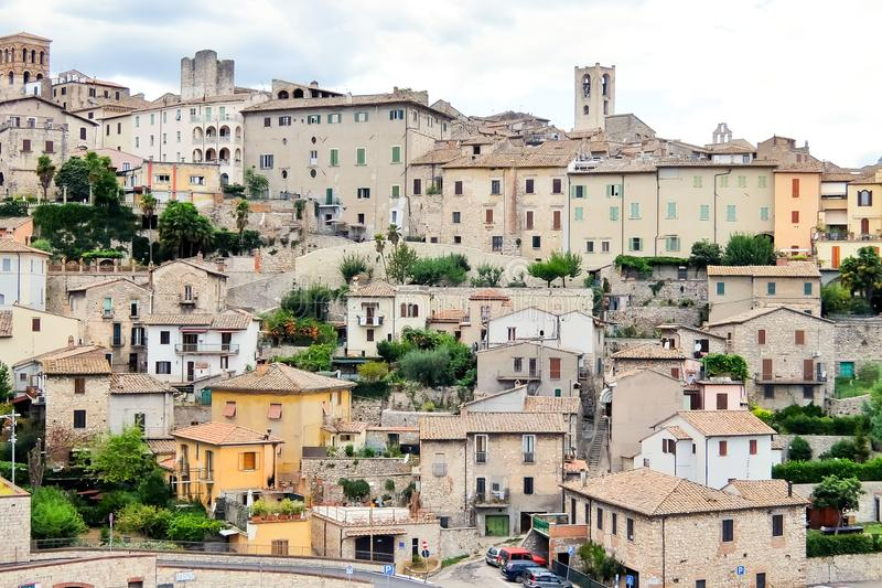 Narni, Italy. Beautiful view of historic center of the  small ancient hilltown Narni. Narni, Italy - Circa September 2017. Beautiful view of historic center of stock photos