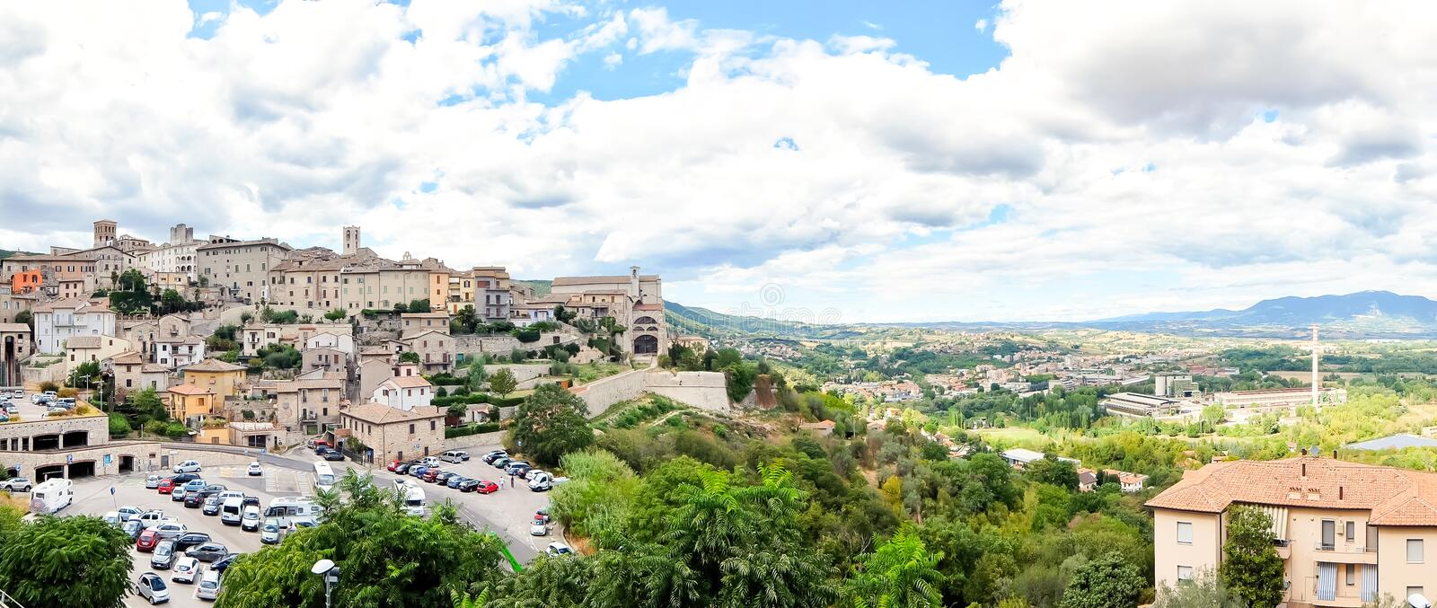 Narni, Italy. Beautiful view of historic center of the  small ancient hilltown Narni. Narni, Italy - Circa September 2017. Beautiful view of historic center of stock image