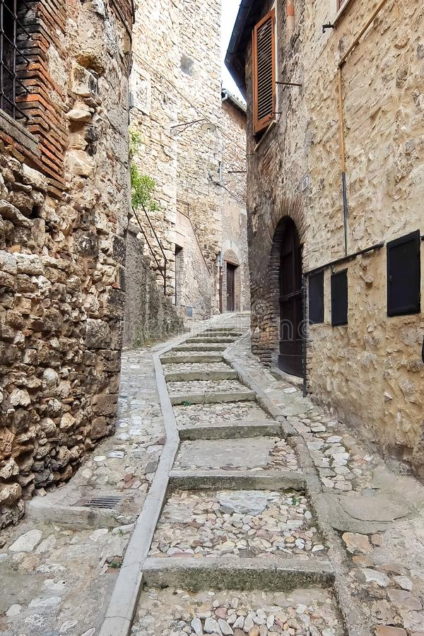 Narni, Italy. Beautiful old street in historic center of ancient hilltown Narni. Narni, Italy - Circa September 2017. Beautiful old street in historic center of royalty free stock photos