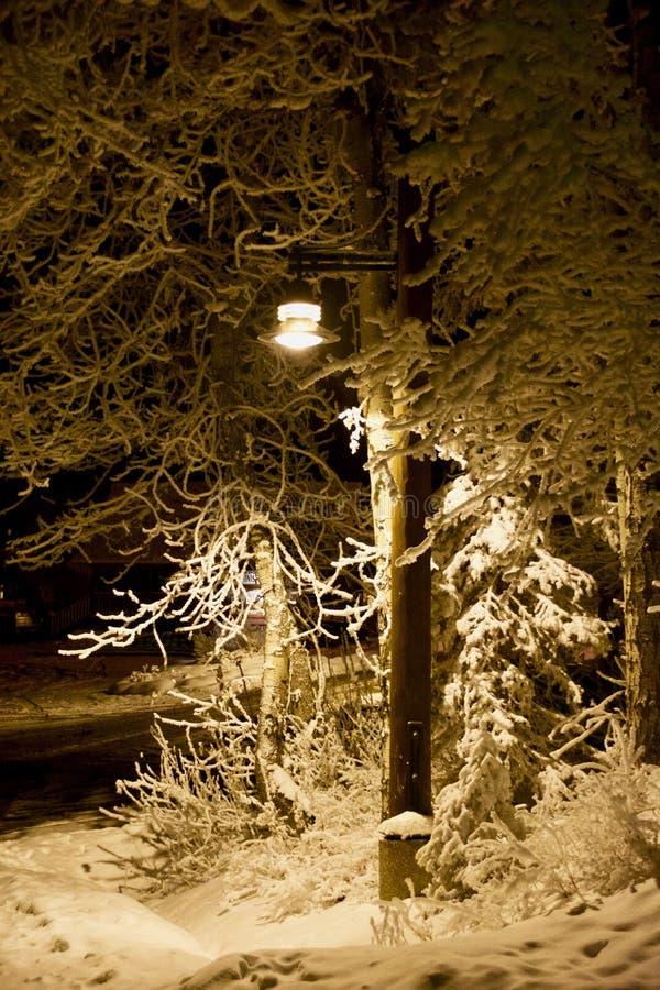 Narnia Lampost: Auf der Ecke eines Snowy-Wegs am Maränen-Höhenkurort lizenzfreie stockfotos