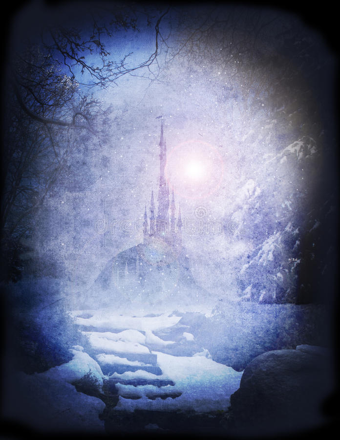 Narnia palace. Mysterious ice palace seen from frozen woodland vector illustration