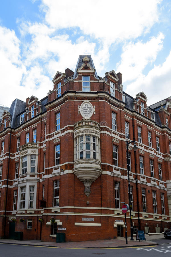 Narożnikowa fasada Birmingham I Midland oka szpital obraz stock