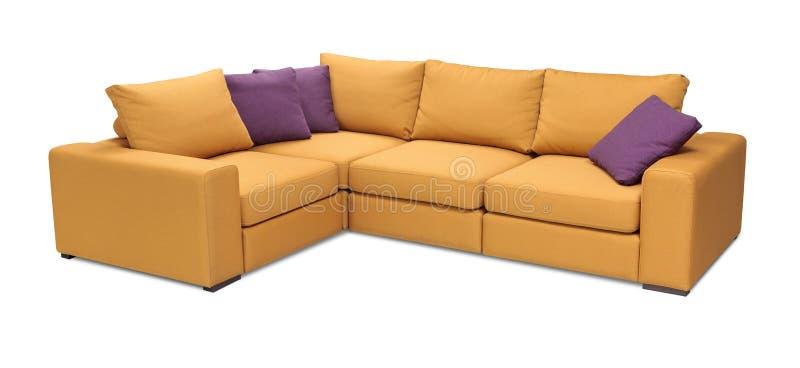 Narożnikowa tapicerowanie kanapa ustawiająca z poduszkami odizolowywać z ścinek ścieżką fotografia stock