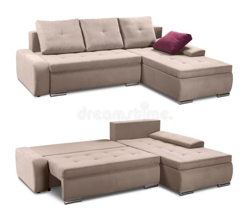 Narożnikowa tapicerowanie kanapa ustawiająca z poduszkami odizolowywać z ścinek ścieżką fotografia royalty free