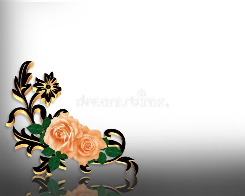 narożnikowe projekta zaproszenia róże ilustracji