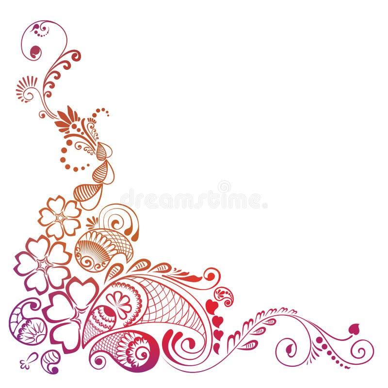 Narożnikowego elementu ozdobny dekorujący mehndi ilustracja wektor