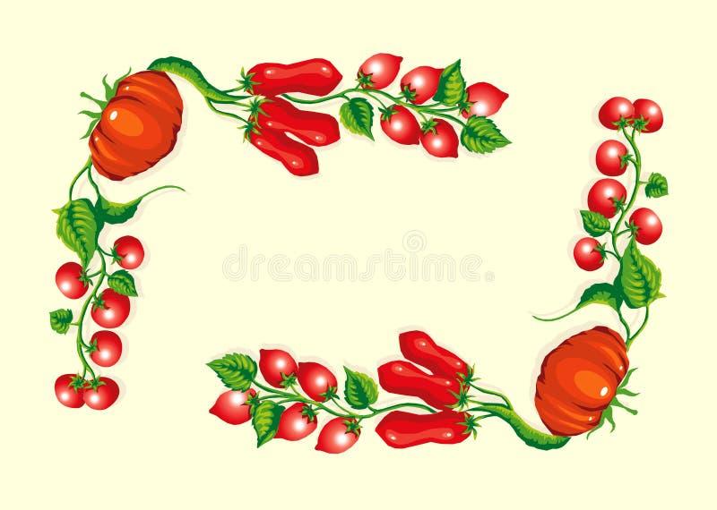 narożnikowej ramy stylizowani pomidory fotografia royalty free