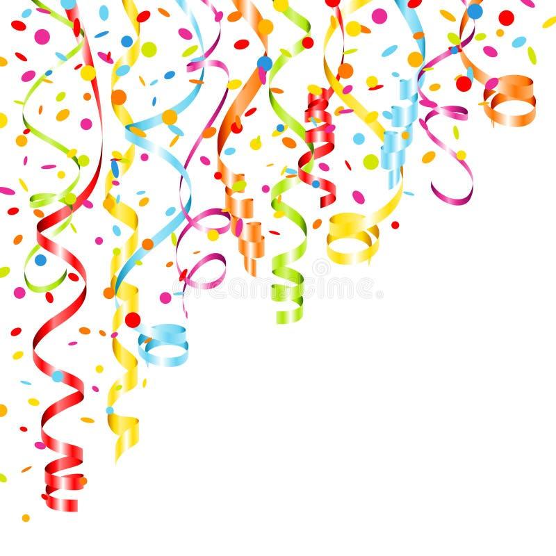 Narożnikowi Kolorowi Streamers I confetti W górę lewicy ilustracja wektor