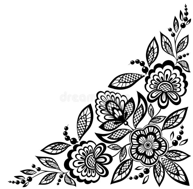 Narożnikowi ornamentacyjni koronkowi kwiaty dekorują w czarny i biały ilustracji