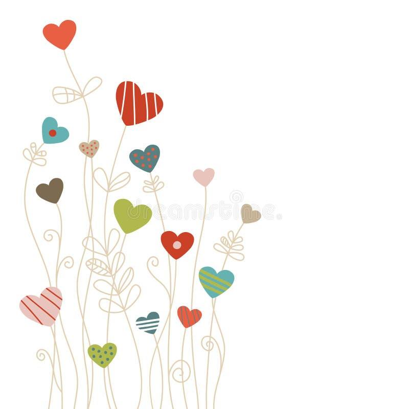 Narożnikowi serca I kwiatu wzoru tła Retro kolory ilustracji