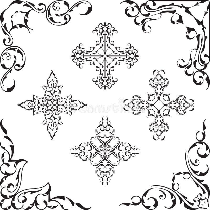 Narożnikowy chłodno sztuka piękna set ilustracja wektor