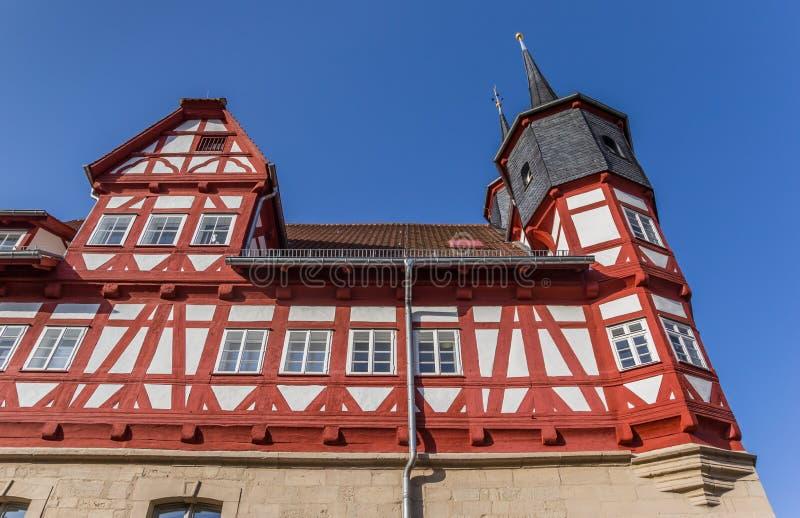Narożnikowy wierza urząd miasta Duderstadt fotografia royalty free