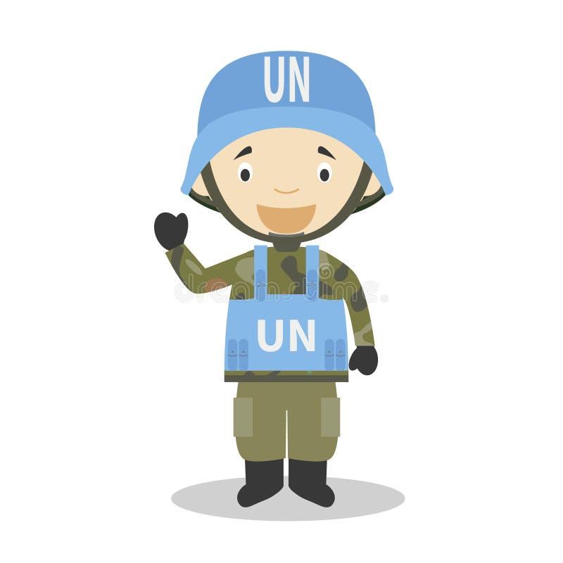 Narody Zjednoczone żołnierza postać z kreskówki również zwrócić corel ilustracji wektora royalty ilustracja