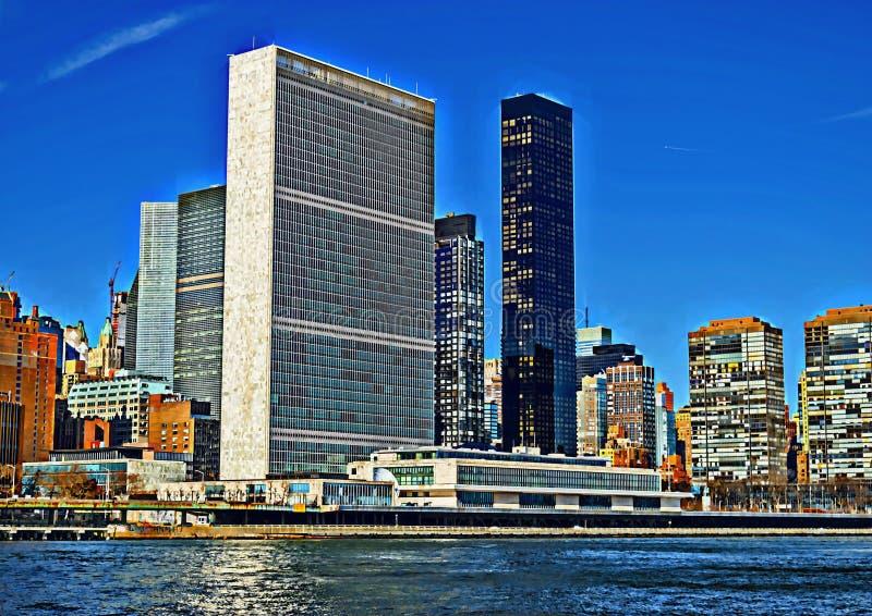 Narody Zjednoczone budynek - HDR widok royalty ilustracja