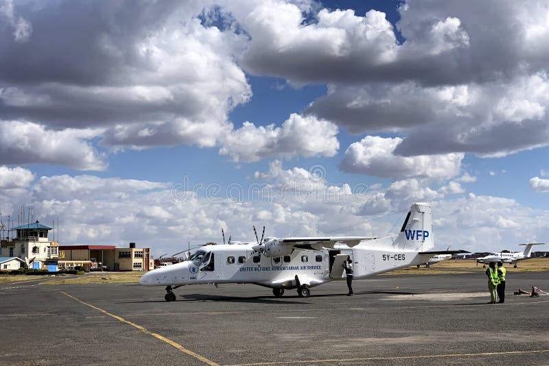 Narody Zjednoczone pomocy humanitarnej samolot obraz royalty free