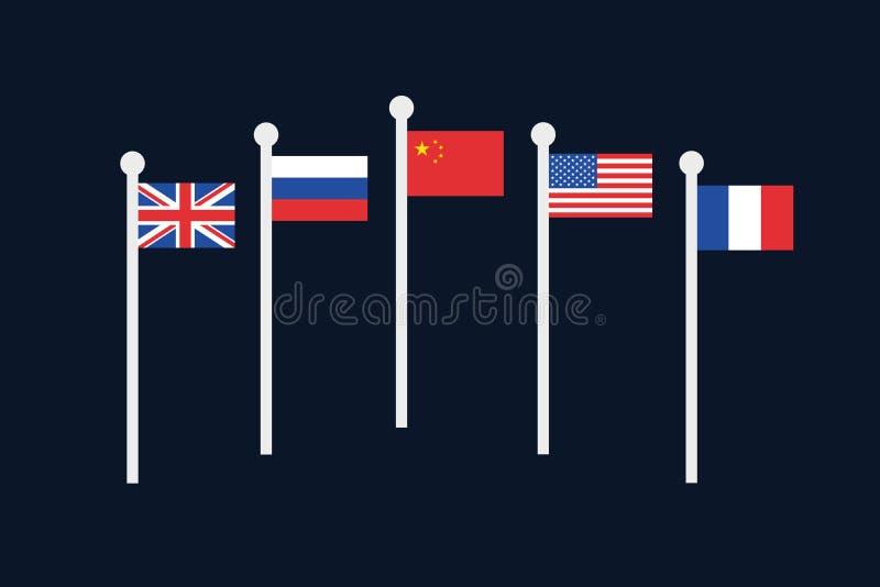 Narody Zjednoczone rada bezpieczeństwa - pięć stali krajów i, Rosja, usa, Chiny, Francja ilustracja wektor
