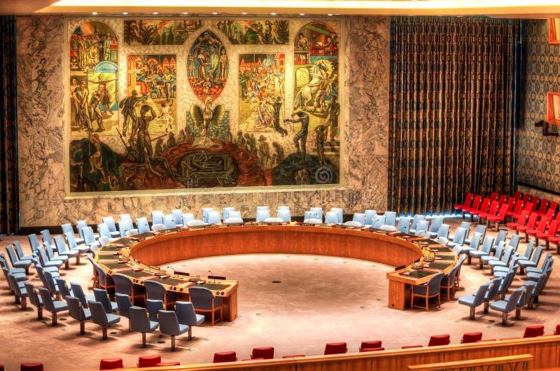 Narody Zjednoczone rada bezpieczeństwa sala obrazy royalty free