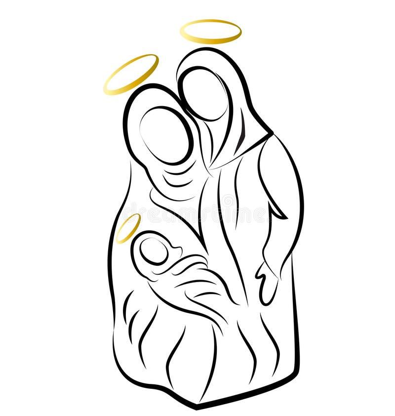 Narodzenia Jezusa rodziny tło royalty ilustracja