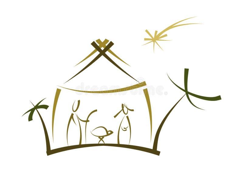 narodzenie jezusa abstrakcjonistyczny symbol ilustracji