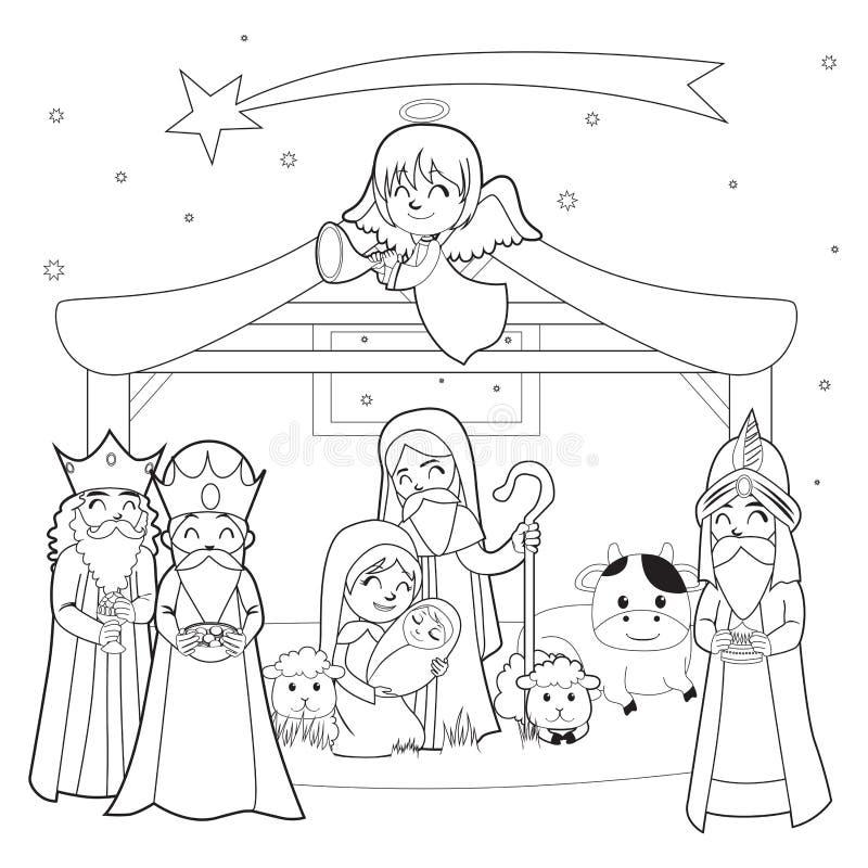 Narodzenie Jezusa Barwi Kreskową sztukę ilustracja wektor