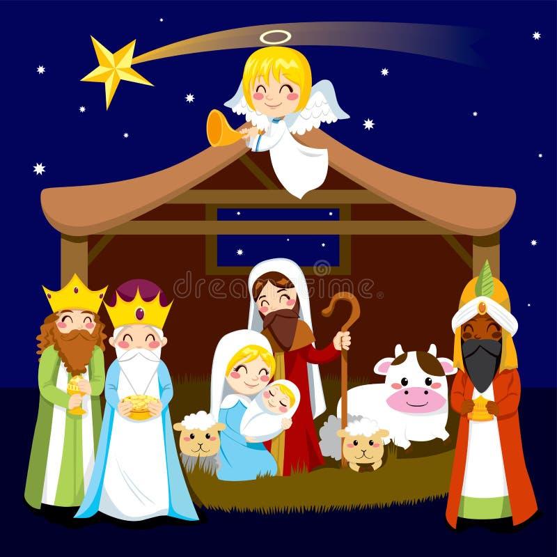 Narodzenie Jezusa bożenarodzeniowa Scena ilustracja wektor