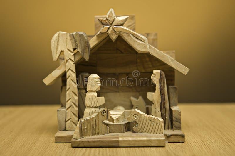 narodzenie jezusa drewniany obrazy royalty free