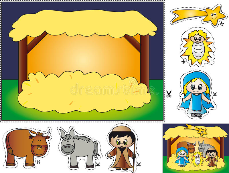 narodzenie jezusa rżnięta pasta ilustracja wektor