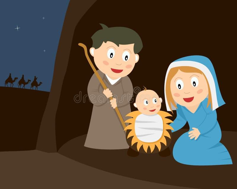 narodzenie jezusa scena ilustracji