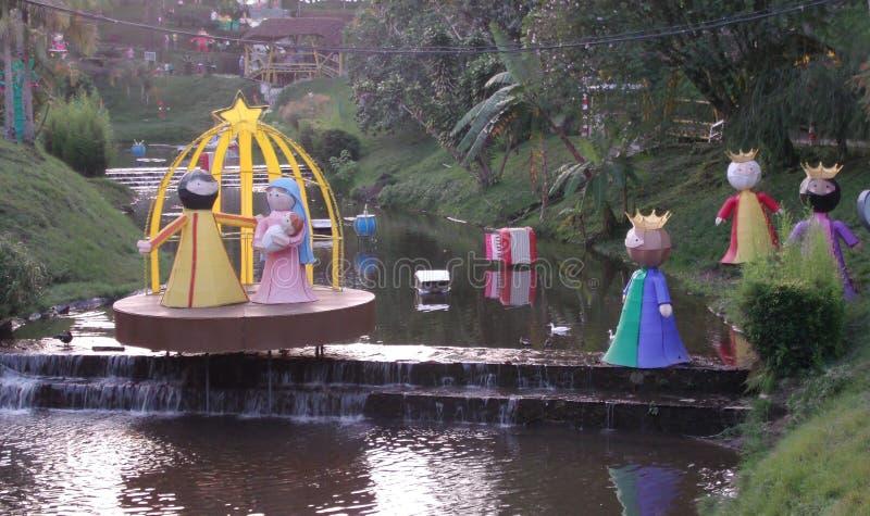 Narodzenie Jezusa scena dekoruje strumienia obrazy royalty free