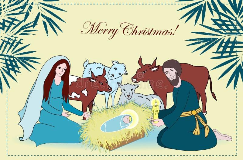 Narodzenie Jezusa scena z świątobliwą rodziną i zwierzętami Kreskówka wektor royalty ilustracja