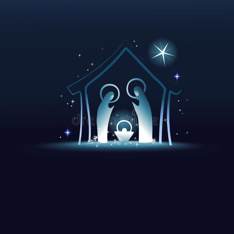 Narodzenie Jezusa scena z świętą rodziną ilustracji