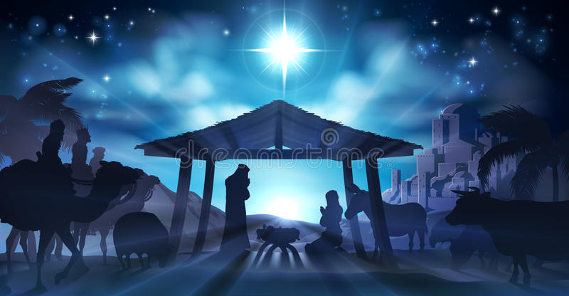 Narodzenie Jezusa sceny boże narodzenia royalty ilustracja