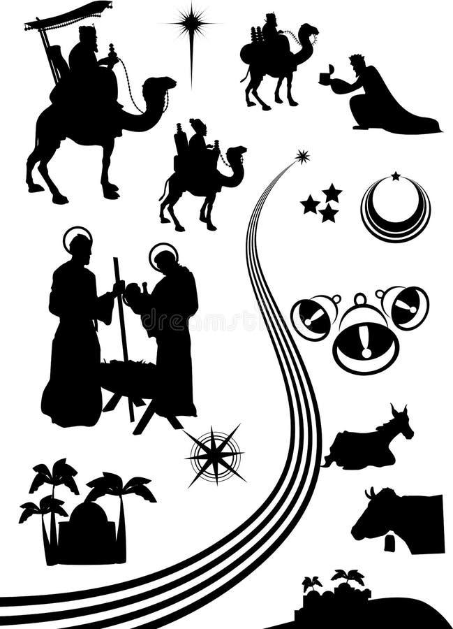 Narodzenie Jezusa sceny set royalty ilustracja