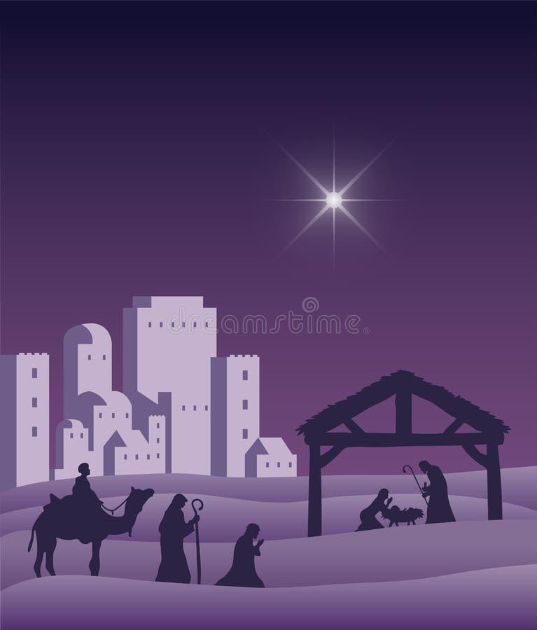 Narodzenie Jezusa sceny wektor pod gwiaździstym niebem ilustracja wektor
