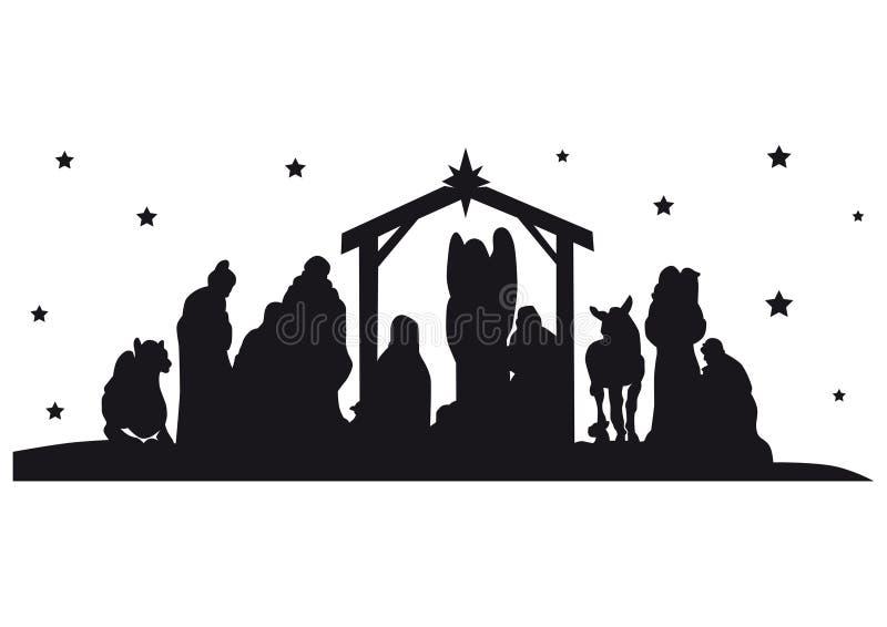Narodzenie Jezusa sylwetka ilustracja wektor