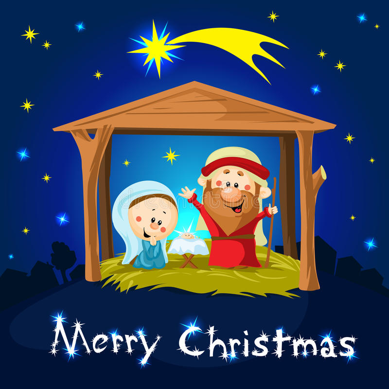 Narodzenie Jezusa w Betlejem - boże narodzenia royalty ilustracja