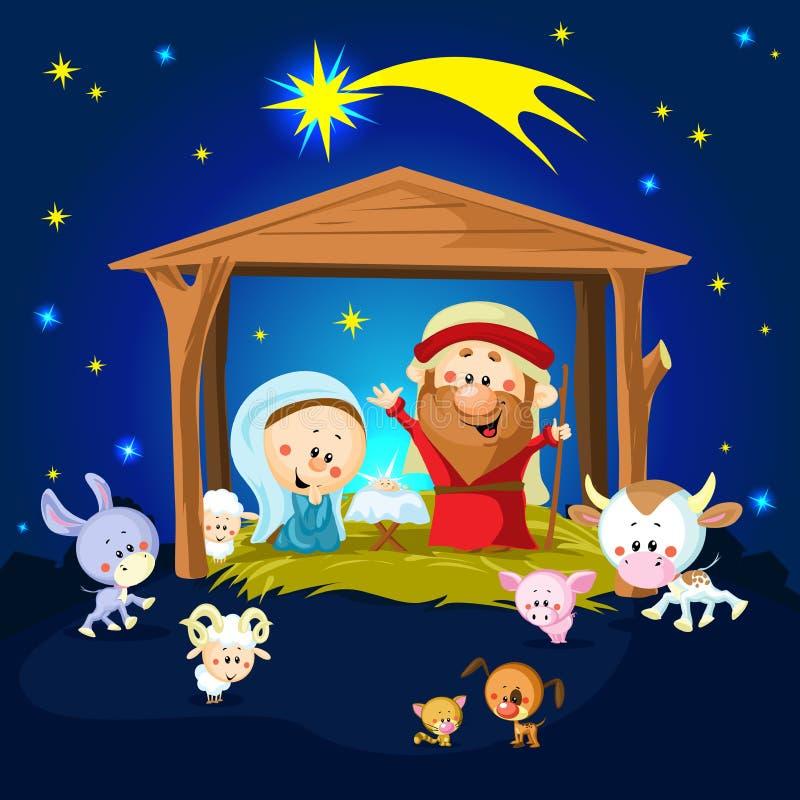 Narodzenie Jezusa w Betlejem z zwierzętami ilustracja wektor