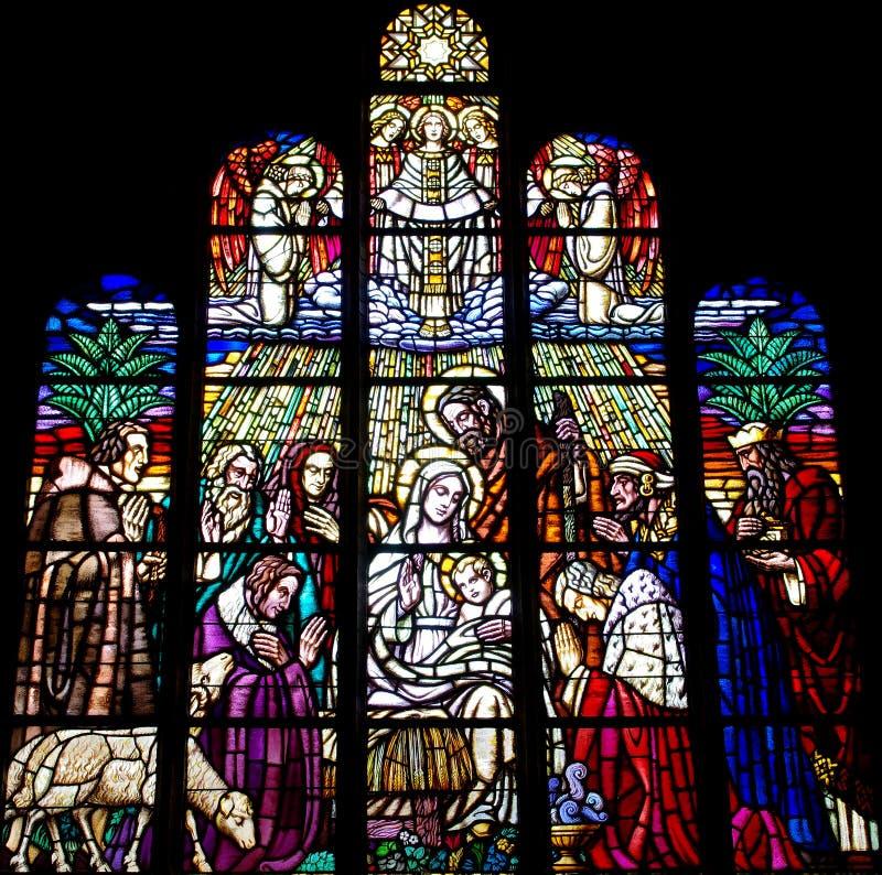 Narodzenie Jezusa w witrażu obraz royalty free