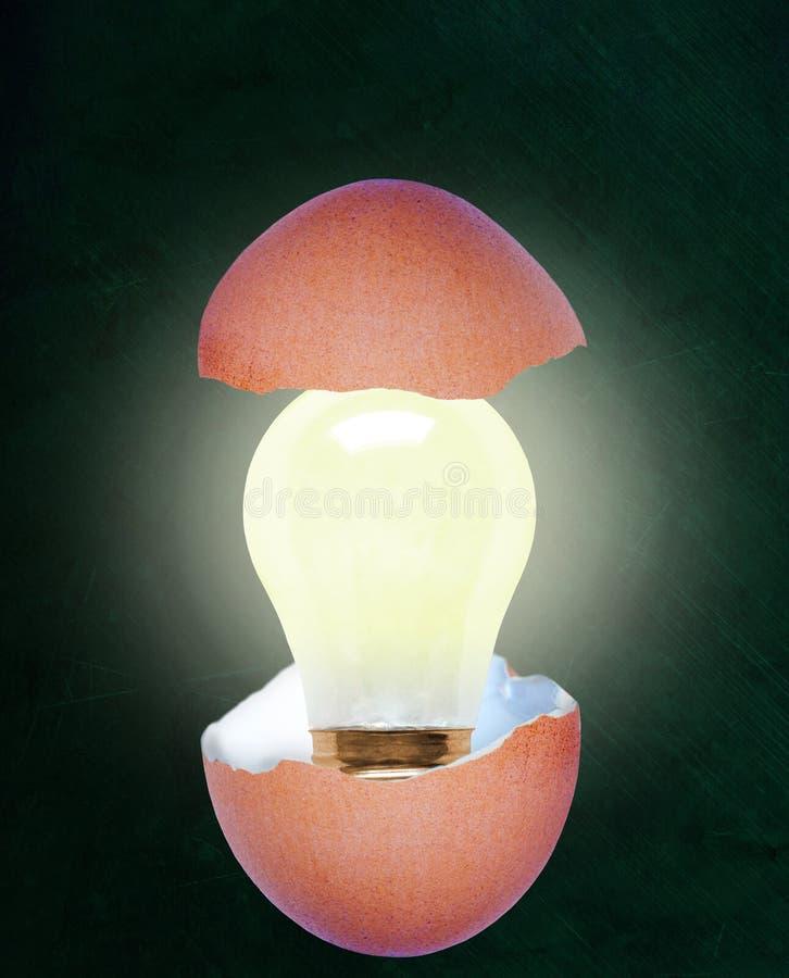 Narodziny Jaskrawy pomysł Z Lightbulb Wśrodku Łamanej Eggshell i kopii przestrzeni royalty ilustracja
