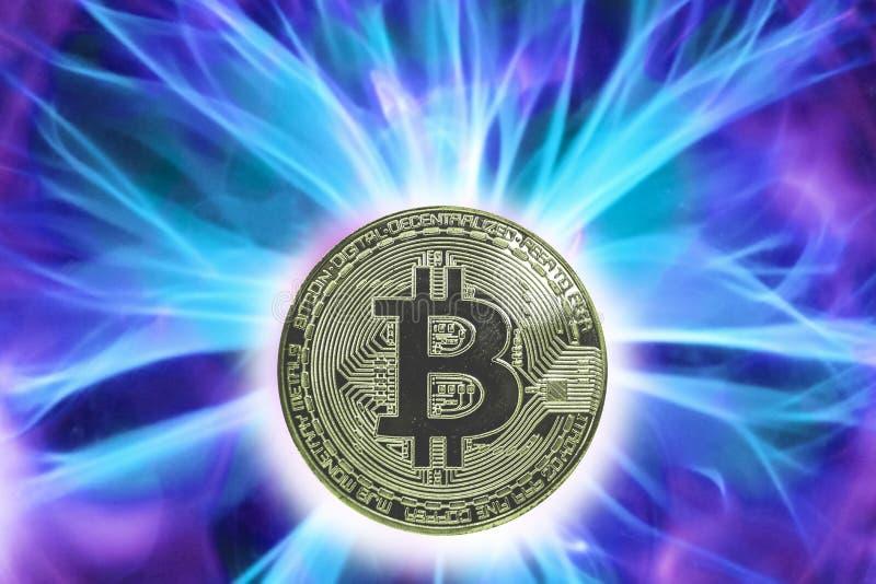 Narodziny lub rozwidlenie Bitcoin cryptocurrency obraz royalty free