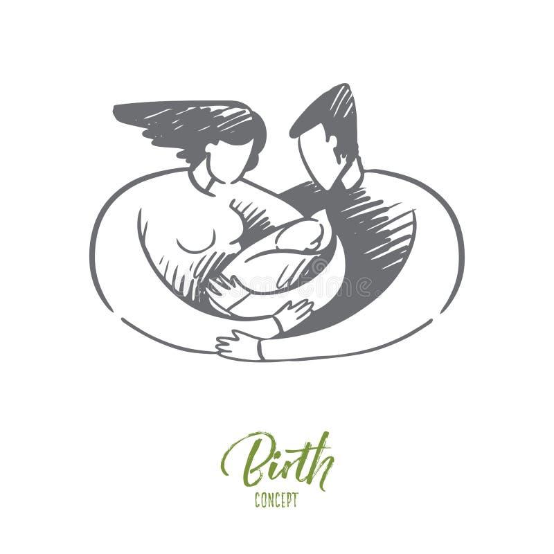 Narodziny, mama, tata, dziecko, laktacja, rodzinny pojęcie Ręka rysujący odosobniony wektor royalty ilustracja