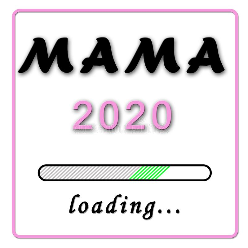 Narodziny zawiadomienie - mamusia w niemieckich Mama 2020 menchiach na białym backgroundnd ilustracji