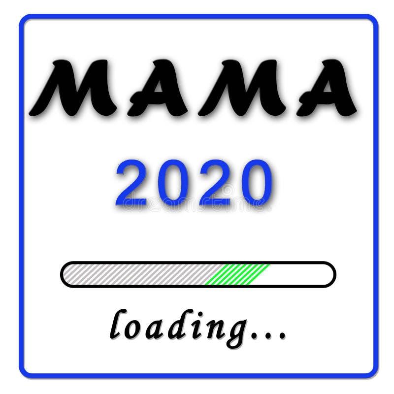 Narodziny zawiadomienie - mamusia w niemieckim Mama 2020 błękicie na białym tle ilustracji
