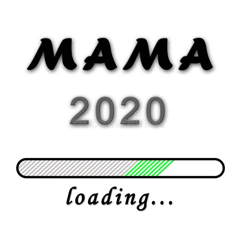 Narodziny zawiadomienie - mamusia w niemieckim Mama 2020 na białym tle ilustracja wektor
