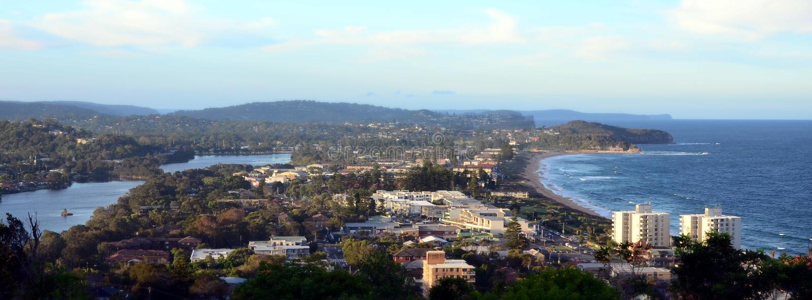 Narrabeen beach and lakes from Collaroy Plateau. (Sydney, NSW, Australia stock photography