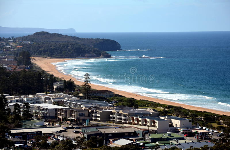 Narrabeen beach in winter time from Collaroy Plateau. stock image