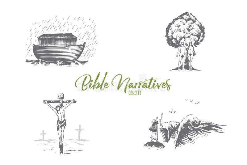 Narrativas de la biblia - arca de Noahs, Adán y Eva, sistema del concepto del vector de Jesus Christ stock de ilustración